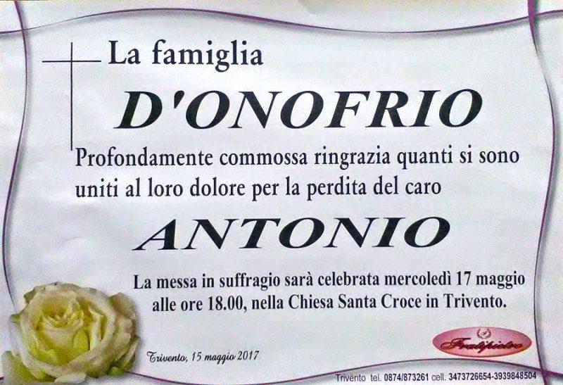 Ringraziamento Famiglia D'Onofrio – Trivento