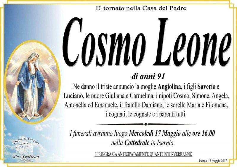 Cosmo Leone – 16/05/2017 – Isernia – Onoranze funebri La Fraterna