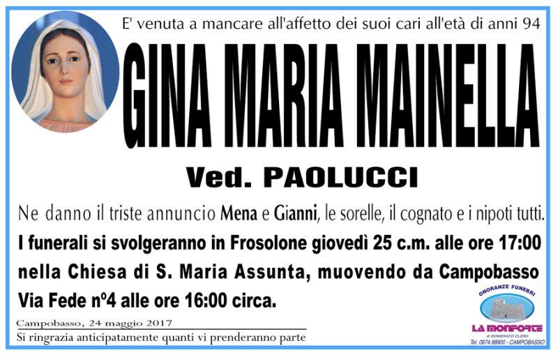 Gina Maria Mainella – 24/05/2017 – Campobasso – Onoranze funebri La Monforte