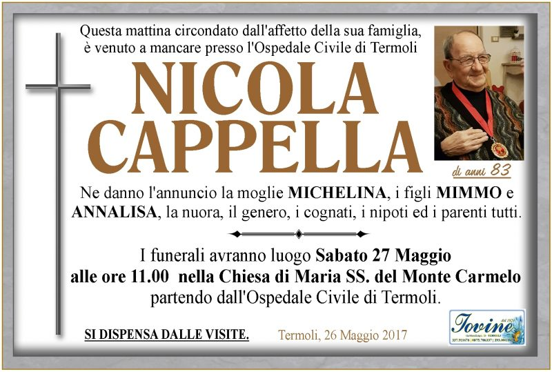 Nicola Cappella – 26/05/2017 – Termoli – Onoranze Funebri Jovine
