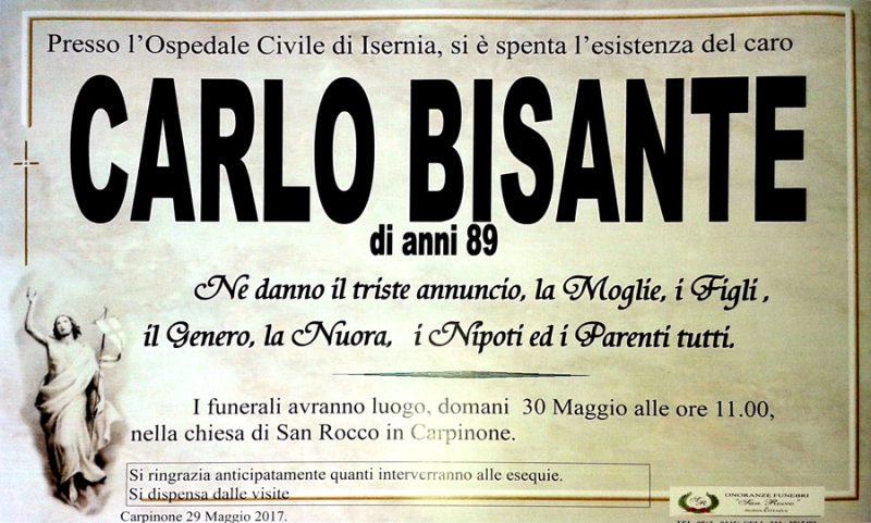 Carlo Bisante – 29/05/2017 – Carpinone – Onoranze funebri San Rocco