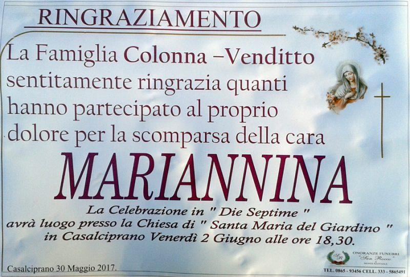 Ringraziamento famiglia Colonna-Venditto – Casalciprano