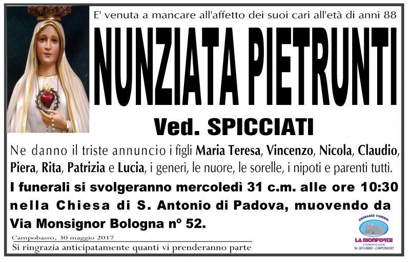 Nunziata Pietrunti – 30/05/2017 – Campobasso – Onoranze Funebri La Monforte