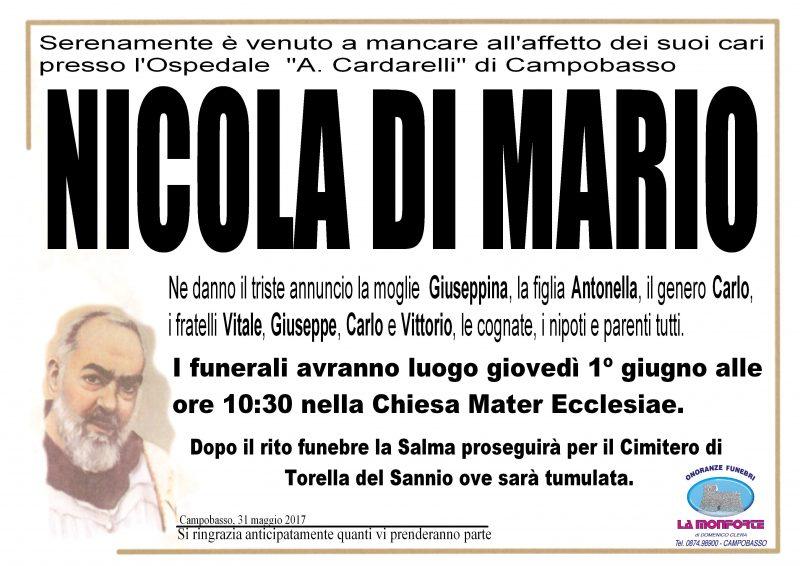 Nicola Di Mario – 31/05/2017- Campobasso – Onoranze Funebri La Monforte