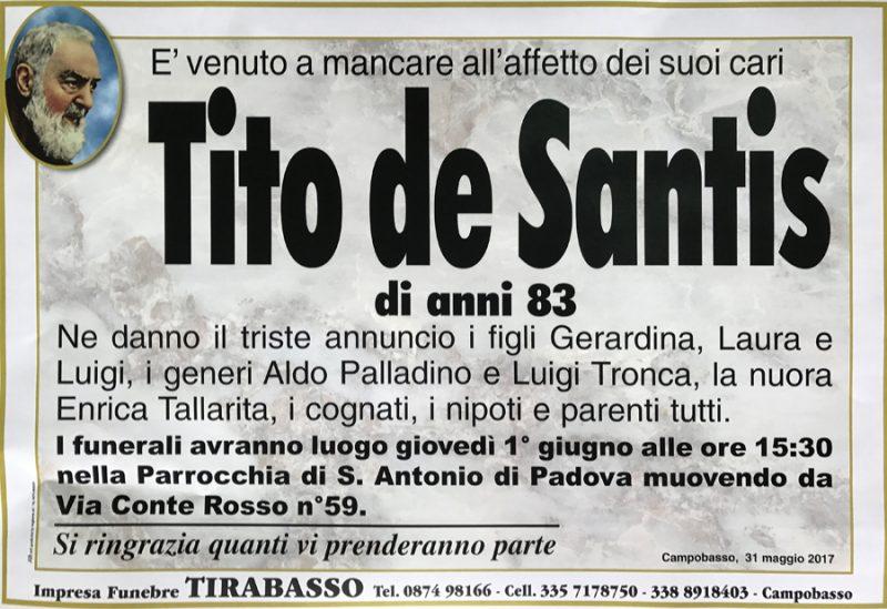 Tito de Santis – 31/05/2017 – Campobasso – Impresa funebre Tirabasso