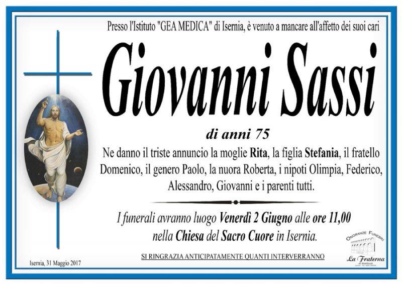 Giovanni Sassi – 02/06/2017 – Isernia – Onoranze funebri La Fraterna
