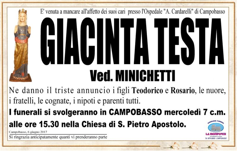 Giacinta Testa – 06/06/2017 – Campobasso – Onoranze funebri La Monforte