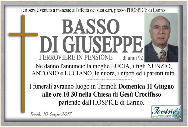 Basso Di Giuseppe – 10/06/2017 – Termoli – Onoranze funebri Iovine