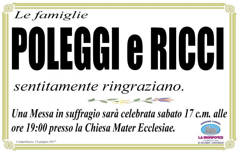 Ringraziamento Famiglie Poleggi e Ricci – Campobasso
