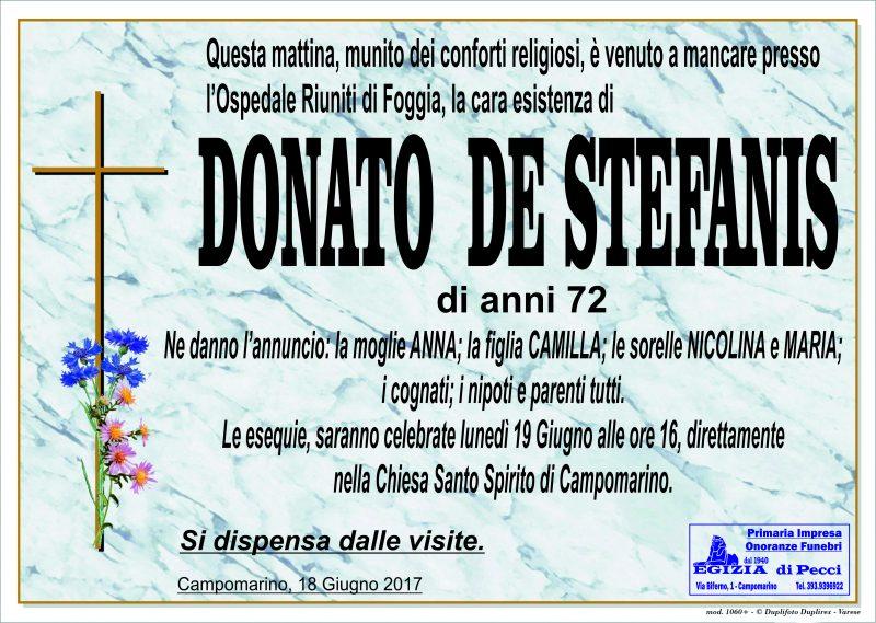 Donato De Stefanis, 18/06/2017, Campomarino – Onoranze Funebri Egizia