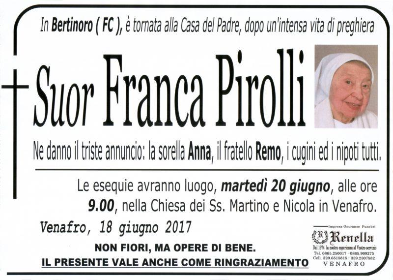 Suor Franca Pirolli, 18/06/2017, Venafro – Onoranze Funebri Renella