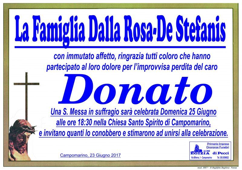 Ringraziamento Famiglia Dalla Rosa – De Stefanis, Campomarino