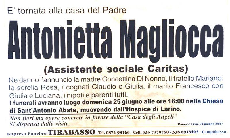 Antonietta Magliocca, Campobasso, 24/06/2017 – Impresa Funebre Tirabasso