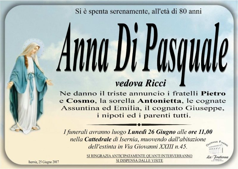 Anna Di Pasquale – 26/06/2017 – Isernia – Onoranze Funebri La Fraterna