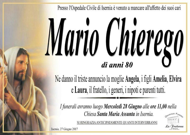 Mario Chierego – 27/06/2017 – Isernia – Onoranze Funebri La Fraterna