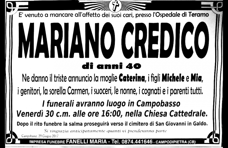 Mariano Credico – 29/06/2017 – Campobasso – Impresa Funebre Fanelli Maria