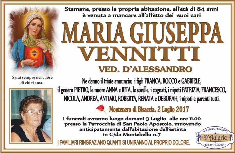 Maria Giuseppa Venditti, Montenero di Bisaccia, 2/07/2017 – Agenzia Funebre D'Aulerio