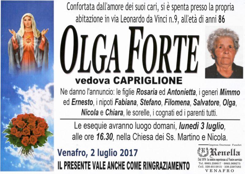 Olga Forte, Venafro, 2/07/2017 – Impresa Funebre Renella