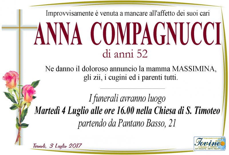 Anna Compagnucci, 3/07/2017, Termoli – Onoranze Funebri Iovine
