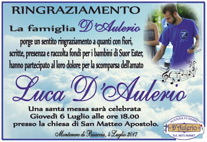 Ringraziamento Famiglia D'Aulerio –  Montenero di Bisaccia