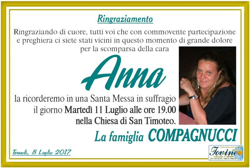 Ringraziamento Famiglia Compagnucci – Termoli