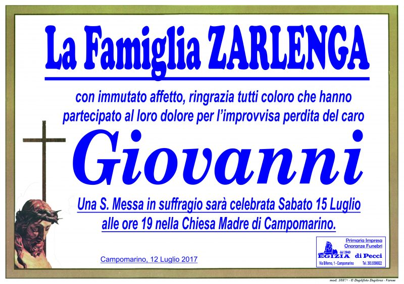 Ringraziamento Famiglia Zarlenga –  Campomarino