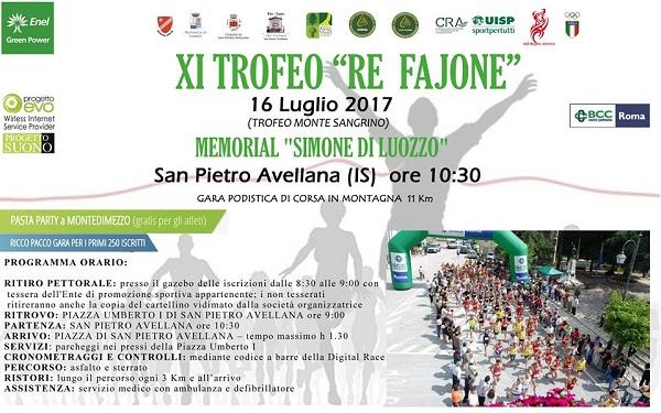 EVENTI – San Pietro Avellana, XI edizione gara podistica 'Re Fajone'