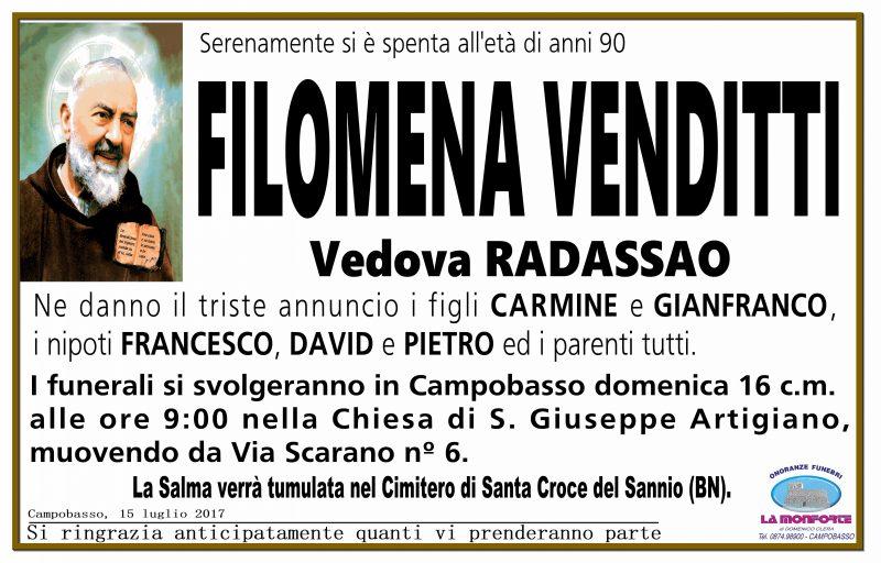 Filomena Venditti, 15/07/2017, Campobasso – Onoranze Funebri La Monforte