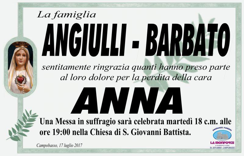 Ringraziamento famiglia Angiulli, Barbato – Campobasso