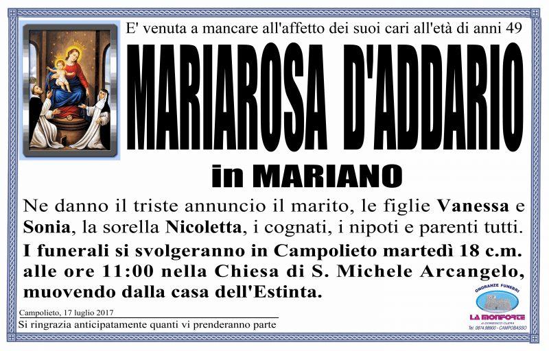 Mariarosa D'addario – 17/07/2017 – Campolieto – Onoranze Funebri La Monforte