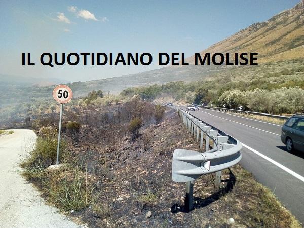 Incendio a confine tra Molise e Campania
