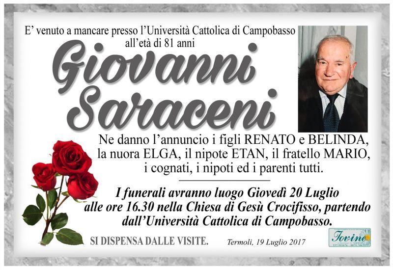 Giovanni Saraceni, 19/07/2017, Termoli – Onoranze Funebri Iovine