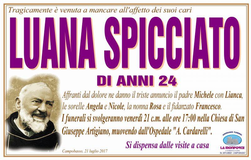 Luana Spicciato – 21/07/2017 – Campobasso – Onoranze Funebri La Monforte