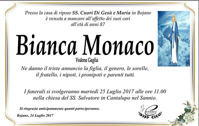 Bianca Monaco – 24/07/2017 – Bojano (CB) – Onoranze funebri Caranci