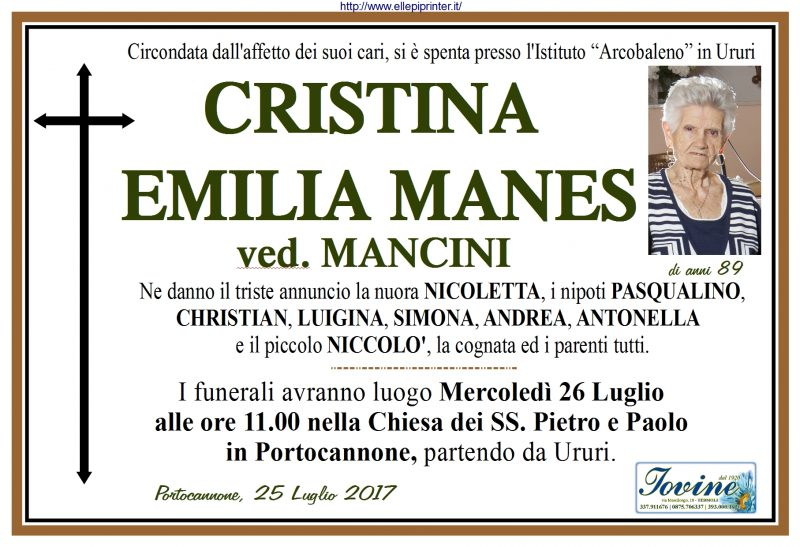 Cristina Emilia Manes – 25/07/2017 – Portocannone – Onoranze Funebri Jovine
