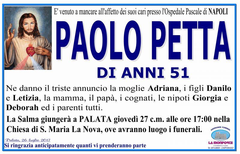 Paolo Petta – 26/07/2017 – Palata – Onoranze Funebri La Monforte
