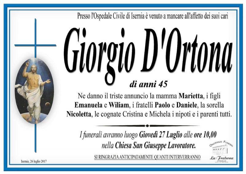 Giorgio D'Ortona – 26/07/2017 – Isernia – Onoranze funebri La Fraterna