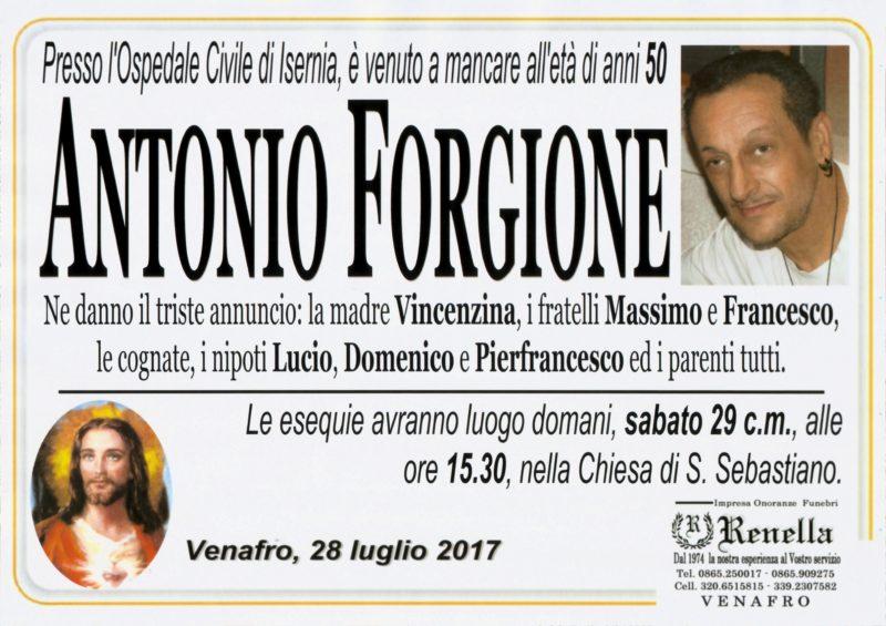 Antonio Forgione – 28/07/2017 – Venafro – Impresa Onoranze Funebri Renella