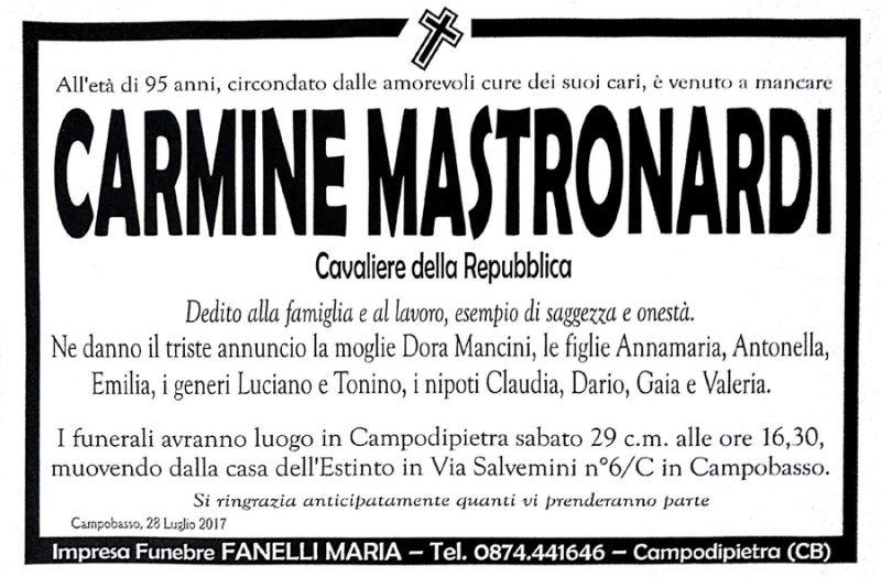 Carmine Mastronardi – 28/07/2017 – Campodipietra (CB) – Impresa funebre Fanelli Maria