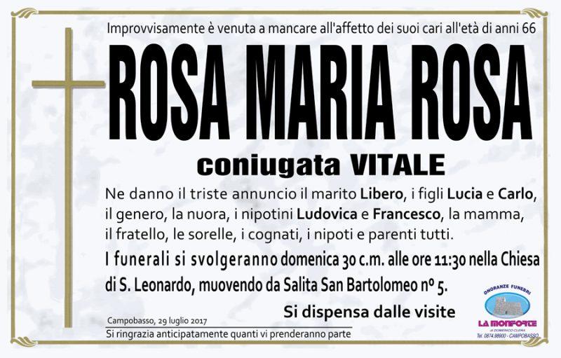 Rosa Maria Rosa – 29/07/2017 – Campobasso – Onoranze funebri La Monforte