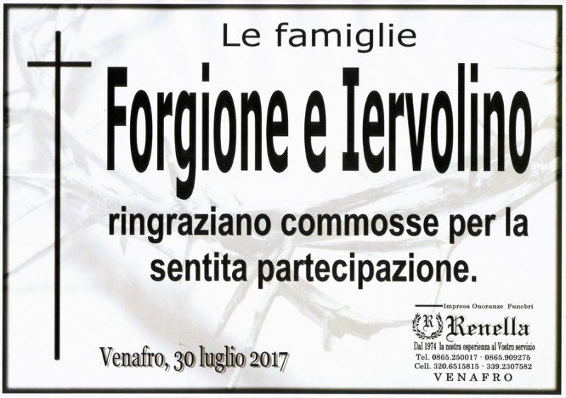 Ringraziamento Famiglie Forgione e Iervolino – Venafro