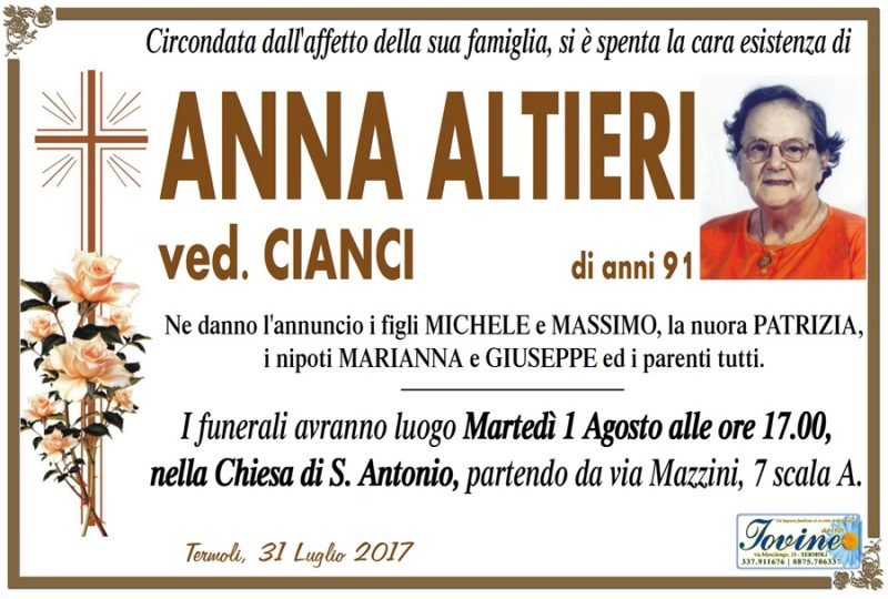 Anna Altieri – 31/07/2017 – Termoli – Onoranze funebri Iovine
