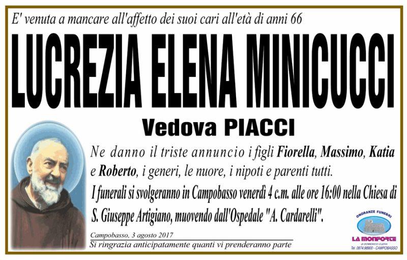 Lucrezia Elena Minicucci – 03/08/2017 – Campobasso – Onoranze funebri La Monforte