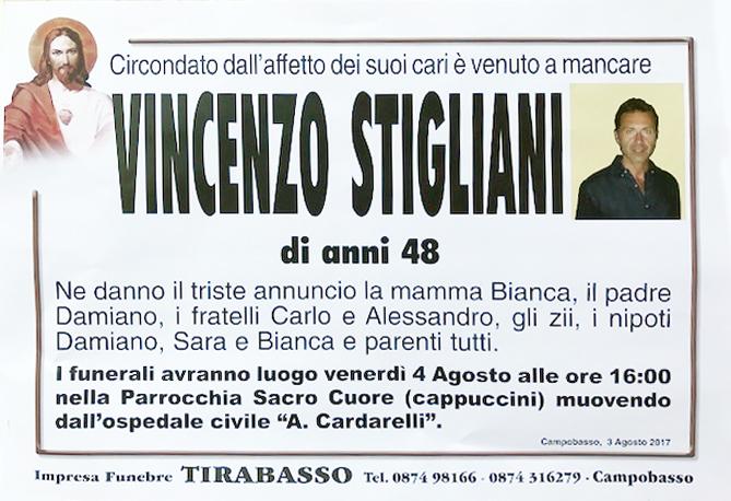 Vincenzo Stigliani – 04/08/2017 – Campobasso – Impresa Funebre Tirabasso