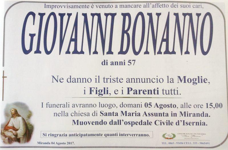 Giovanni Bonanno, 04/08/2017, Miranda – Impresa Funebre San Rocco