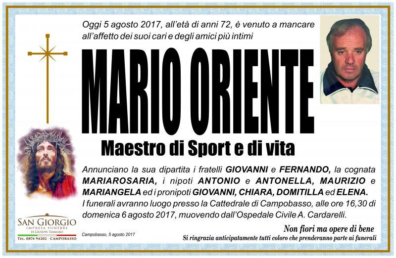 Mario Oriente, 05/08/2017, Campobasso – Impresa Funebre San Giorgio