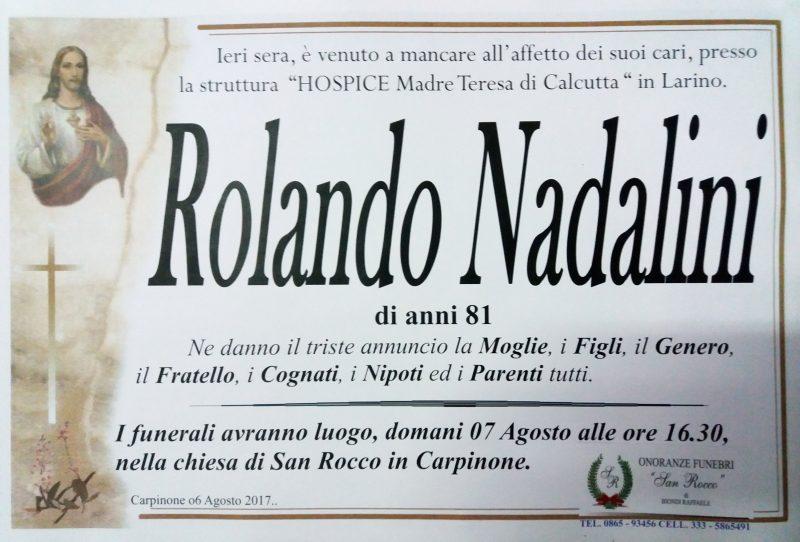 Rolando Nadalini, 06/08/2017, Carpinone – Onoranze Funebri San Rocco