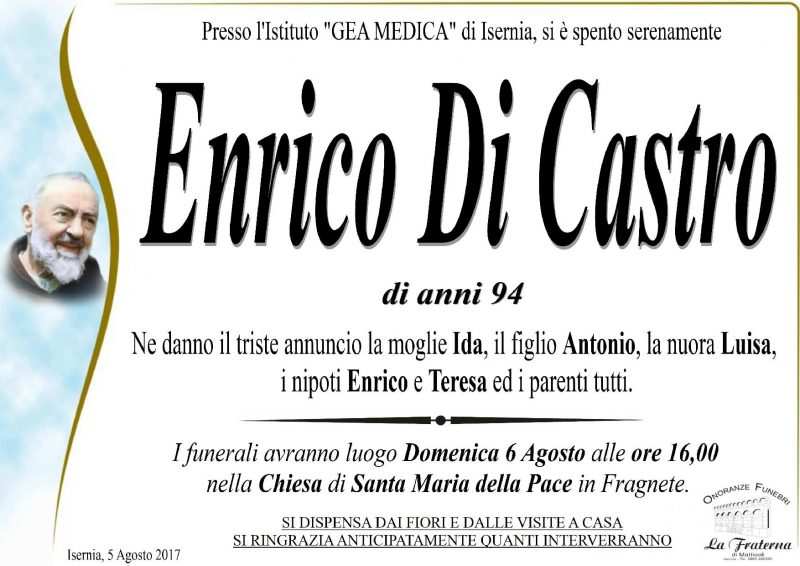 Enrico Di Castro, 05/08/2017, Isernia – Onoranze Funebri La Fraterna