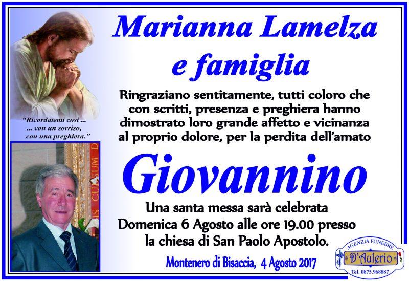 Ringraziamento Marianna Lamelza e famiglia, Montenero di Bisaccia