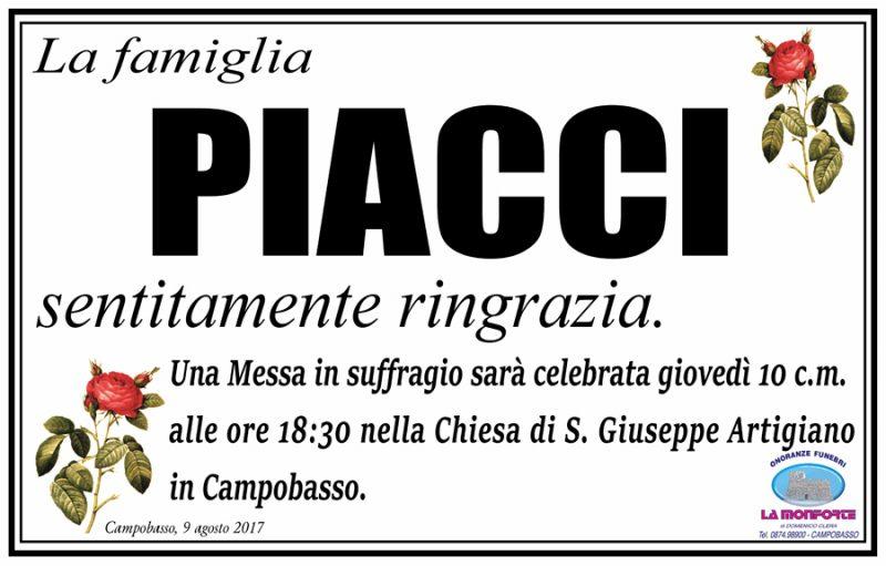 Ringraziamento famiglia Piacci – Campobasso